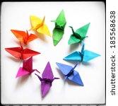 origami cranes | Shutterstock . vector #185568638