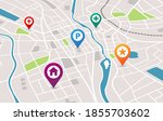 map with pins gps navigation... | Shutterstock .eps vector #1855703602