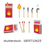 different matches set. opened...   Shutterstock .eps vector #1855713625