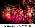 fire sparks with smoke on black ... | Shutterstock . vector #185571998