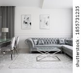 Small photo of Luxurious and glamour style living room interior with quilted corner sofa, glass coffee and dining tables and fancy chairs