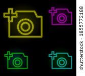 camera plus sign neon color set ...