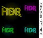 hdr sign neon color set icon....