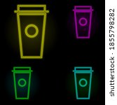 plastic cup for coffee neon...