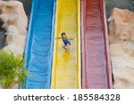 girls playing in the water park ... | Shutterstock . vector #185584328