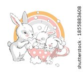 cute little hares with mom.... | Shutterstock .eps vector #1855883608