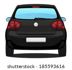 Vector Car - Back view - Black Car - stock vector
