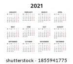 2021 yearly calendar. 12 months ... | Shutterstock . vector #1855941775