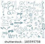 arrow set  hand drawn... | Shutterstock .eps vector #185595758