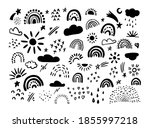 vector set hand drawn rainbows... | Shutterstock .eps vector #1855997218