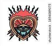 burning heart and thunder... | Shutterstock .eps vector #1856089075