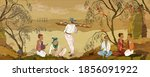 tea ceremony. ancient china.... | Shutterstock .eps vector #1856091922