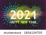 happy new year 2021 with a...   Shutterstock .eps vector #1856134705