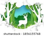 paper cut forest landscape and...   Shutterstock .eps vector #1856155768