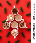 cups with hot chocolate with...   Shutterstock . vector #1856179618