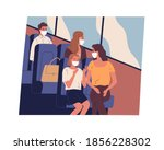 people in face masks commuting... | Shutterstock .eps vector #1856228302