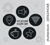 ux ui line icons set over gray...