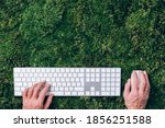 Hands On Laptop Keyboard Over...