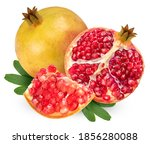 Red Pomegranate With Leaf...
