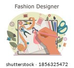 fashion designer makes a sketch ...   Shutterstock .eps vector #1856325472