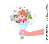 person giving flowers bouquet.... | Shutterstock .eps vector #1856333908