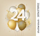 happy 24th birthday with gold... | Shutterstock . vector #1856378902