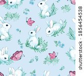 white rabbits with butterflies... | Shutterstock .eps vector #1856454538