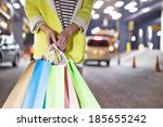 happy woman shopping and