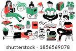 books and readers. happy people ... | Shutterstock .eps vector #1856569078