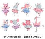 ballet animals. bunny  fox and... | Shutterstock .eps vector #1856569582