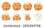 bitten chocolate chip cookie.... | Shutterstock .eps vector #1856569708