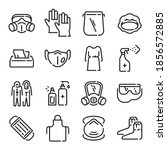 ppe line icons. medical covid... | Shutterstock .eps vector #1856572885