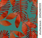 orange leaves on a green...   Shutterstock . vector #1856580535