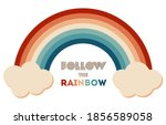 retrowave 80s art retro rainbow ... | Shutterstock .eps vector #1856589058