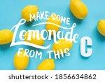 top view of ripe yellow lemons...   Shutterstock . vector #1856634862