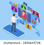 isometric online business to... | Shutterstock .eps vector #1856645728