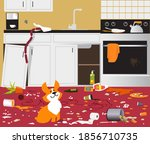 funny cute corgi dog sitting in ... | Shutterstock .eps vector #1856710735