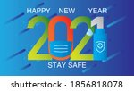 health care happy new year 2021 ... | Shutterstock .eps vector #1856818078