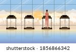 back view of alone woman... | Shutterstock .eps vector #1856866342