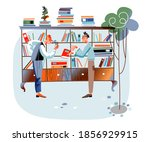 men at bazaar fair or flea... | Shutterstock .eps vector #1856929915