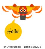 greeting card with funny turkey ...   Shutterstock .eps vector #1856960278
