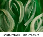 Abstract Green Leaves Painting. ...