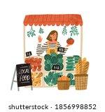 female farmer selling fresh... | Shutterstock .eps vector #1856998852