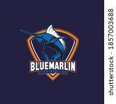 Blue Marlin Fish Sports Mascot...