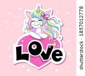 Beautiful Unicorn Holding A...