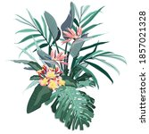 tropical composition with... | Shutterstock .eps vector #1857021328