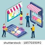 online shopping. isometric 3d... | Shutterstock .eps vector #1857035092