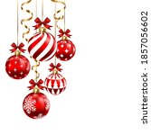 christmas balls with ribbon and ... | Shutterstock .eps vector #1857056602