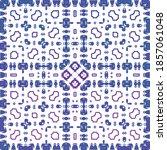 portuguese ornamental azulejo... | Shutterstock .eps vector #1857061048