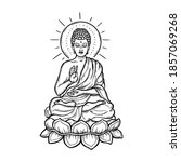 seated buddha over a round...   Shutterstock .eps vector #1857069268